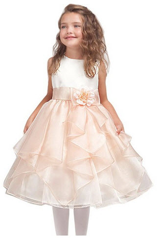Ivory and Peach Flower Girl Dress