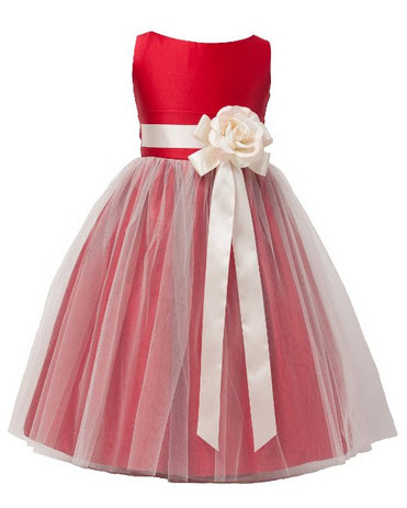 Vintage Satin Tulle Flower Girl Dress