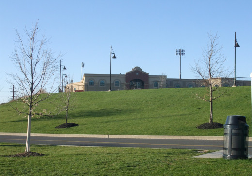 Spacious lawns encircle the parking lots and the stadium.