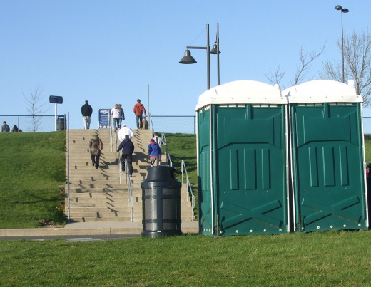 Convenient porta-potties at the end of the parking lot.