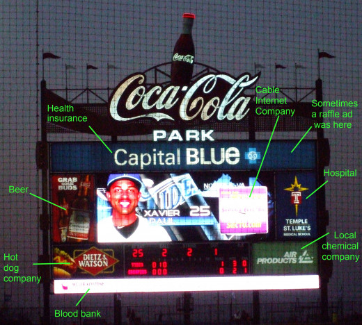 7 to 8 ads on a baseball scoreboard.