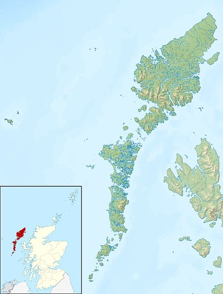 Relief map of the Outer Hebrides, the home of Flora MacDonald.