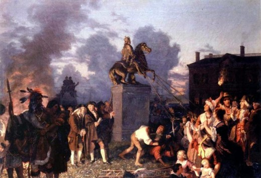 Revolutionaries pull down the statue of the British King George at the outbreak of the American Revolution, by Johannes Adam Simon Oertel circa 1859