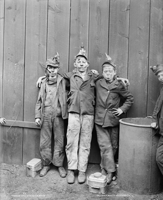 Though it is hard to imagine today, many boys as young as six or seven were sent to work separating cold from the culm (slag). From there in adolescence they would enter the mines where they would work until old age. Thsi photo from Kingston, PA.