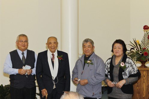 Elder Huang still preaches at 98 years. Dn. Apollos Lee, Elder Huang, Jackson (son) and Shiow Yueh (d-i-l).