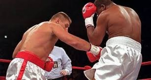 Andrew Golota was disqualified for repeatedly hitting Riddick Bowe below the belt which sparked a brawl inches audience.