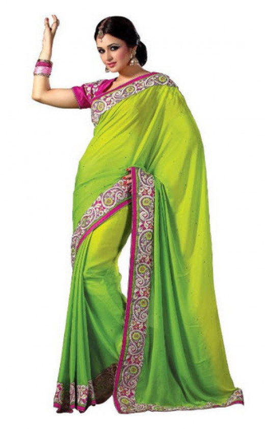Green faux georgette party wear saree