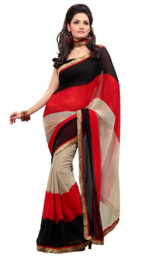 Designer Red Black Georgette Saree