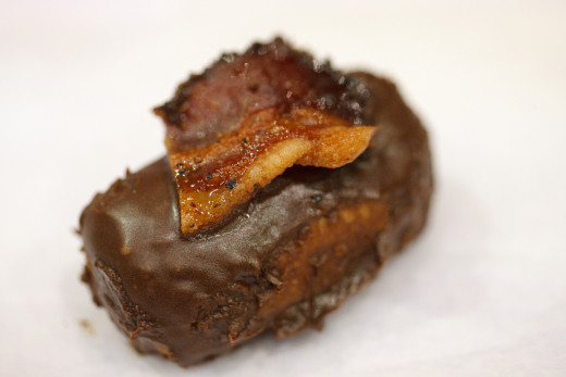 Chocolate bacon mini doughnut