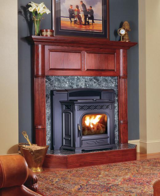 An Accentra Pellet Burning Fireplace Insert