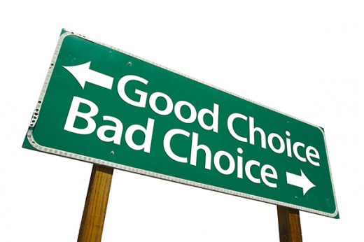 Making good or bad choices is what midlife crisis is all about. image of billboard with good and bad choices