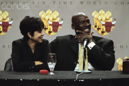 Michael Jordan and now-ex-wife are questioned by the press about their upcoming divorce.