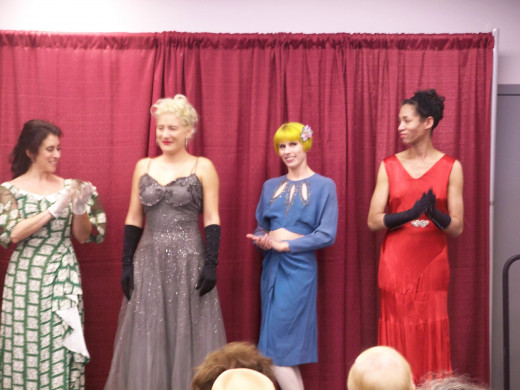 Models at the end of fashion show at Vintage Fashion Expo
