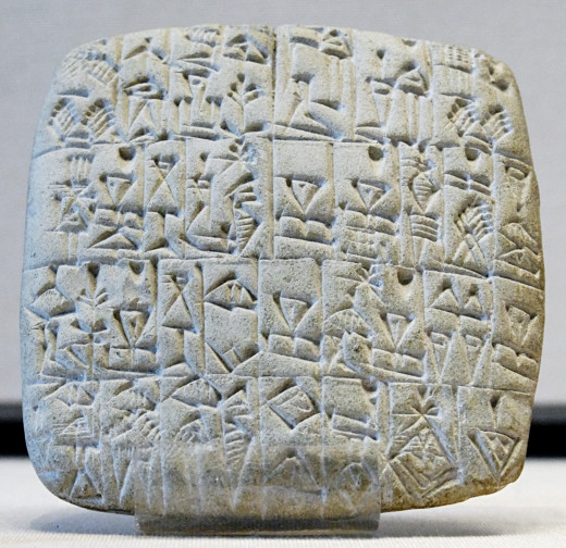 This contract actually written in stone deals with the sale of a  slave and a building in Shuruppak in Sumer.