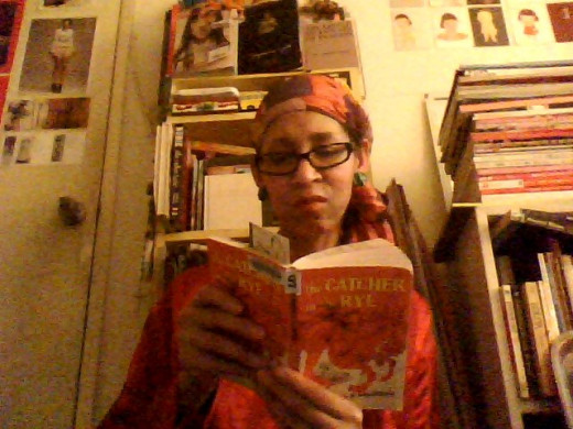 "Victoria Moore reading ""The Catcher in the Rye"" ."