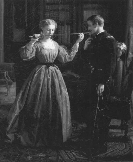 Painting - a lady admires a Volunteer officer's sword prior to their farewell