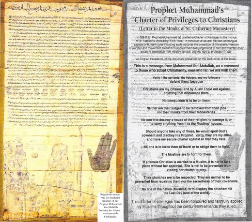 This charter, issued by Prophet Muhammad (pbuh), was requested as protection of freedom of religion by Christians St. Catherine's Monastery at Mt. Sinai. It bears the hand-print of  the Prophet (pbuh)