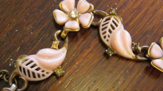 Vintage Pink Floral Necklace