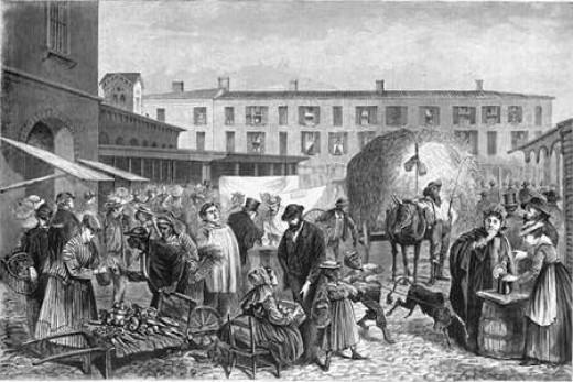 Sketch - 1860's city market place