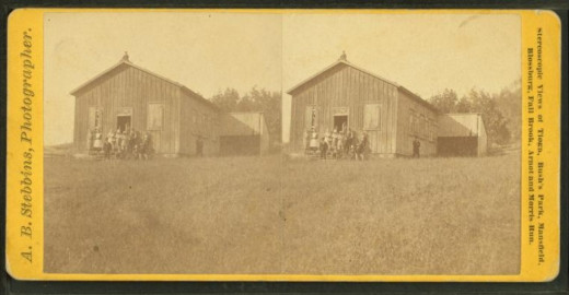 Stereo image of an 1860s school and class