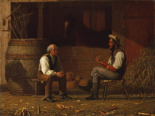 "Painting - ""Talking It Over"" in a farm stable"
