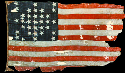 The flag that flew above Fort Sumter during the 1861 bombardment