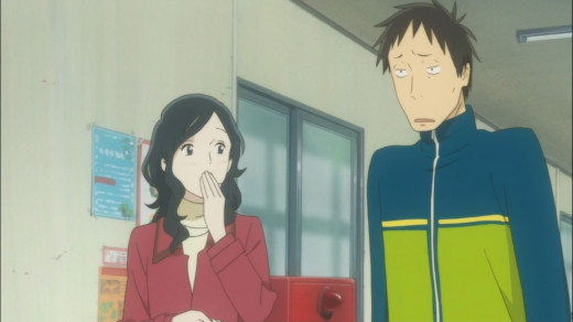 A moment shared between two single parents. Yukari serves as the romantic interest for Daikichi in the anime.