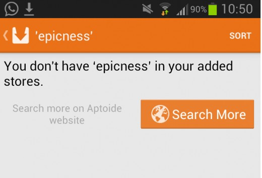 Aptoide search function
