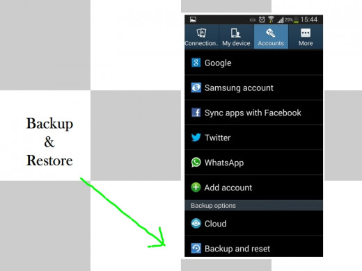 """Backup and reset"" button in Samsung Galaxy S3"