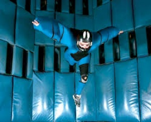 Vegas Indoor Skydiving has a huge fan that shoots you up in the air and keeps you up their.