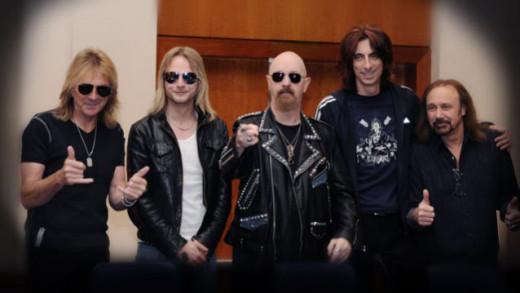 Judas Priest L-R: Glenn Tipton (gtr), Richie Faulkner (gtr), Rob Halford (vox), Scott Travis (dr), Ian Hill (bass)
