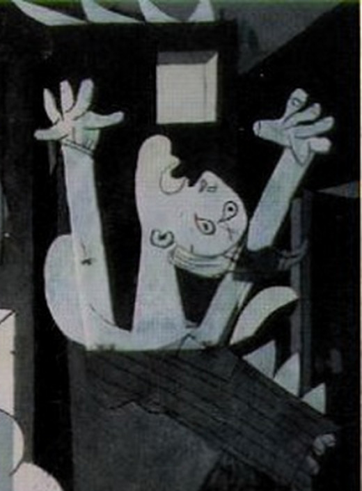 """""""Guernica"""" detail: woman engulfed in flames."""