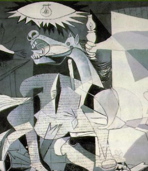 """""""Guernica"""" detail: concentration of overlapping lines creating shapes, defined by value."""