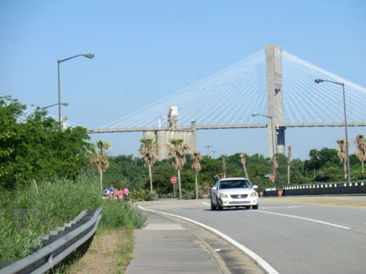 The start of the race with the Talmadge Bridge in the background.