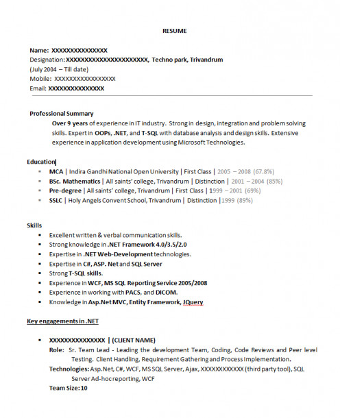 resume format  sample resume xml