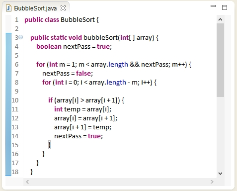 Bubble Sort algorithm in Java