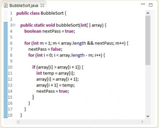 Bubble Sort algorithm in Java