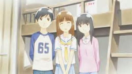 Shown here are three characters from the anime.  Yoshino Takatsuki, Shuichi Nitori, and Saori Chiba.