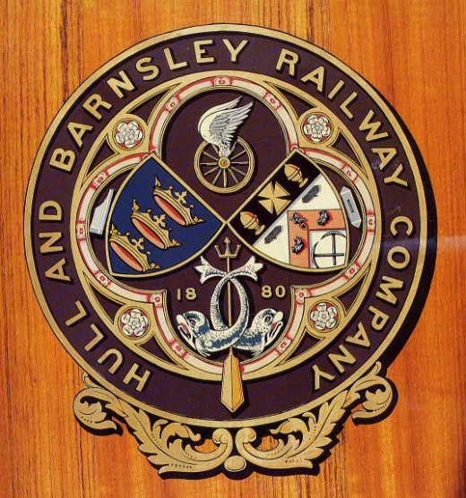 The Hull & Barnsley Railway company crest. The company was formerly known as the Hull, Barnsley & West Riding Junction Railway. A bit of a mouthful and very ambitious considering the railway only reached Cudworth, a few miles north of Barnsley