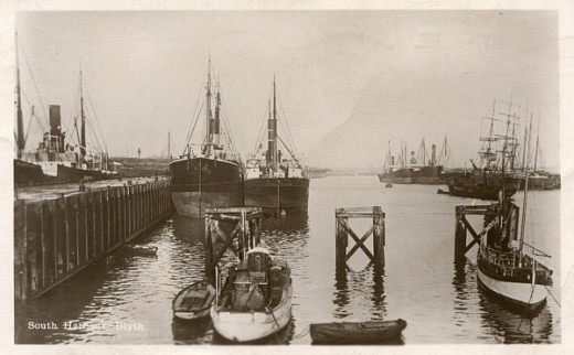 Blyth South Harbour, Northumberland, from an old picture postcard