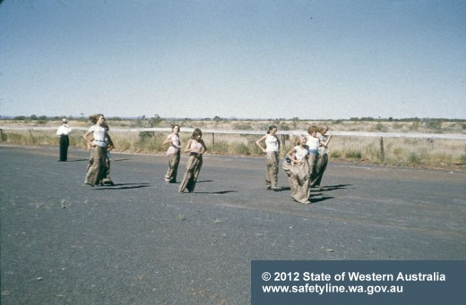 Sack races on the polluted racetrack a couple of years before the mine closed
