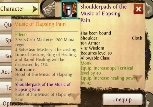 Epic gear set bonuses in Order and Chaos.
