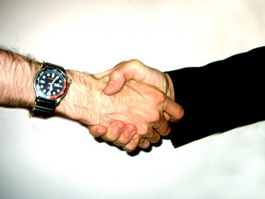 An assertive, strong handshake is an important part of non-verbal communication.