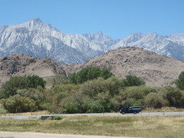 Mount Whitney (center) from the Interagency Visitor Center along US 395.