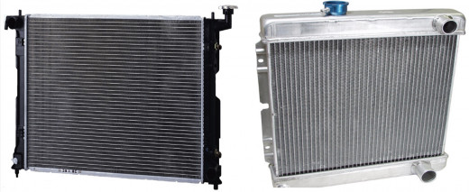 Radiators can be made from copper, aluminum or aluminum and plastic.