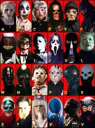 Slasher movie killers through the years.