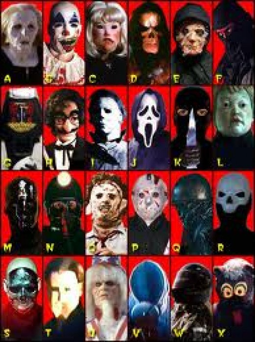 Slasher movie killers through the years.