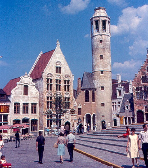 An entire Belgium medieval village constructed by Belgium for the World's Fair where Belgium waffles were served.