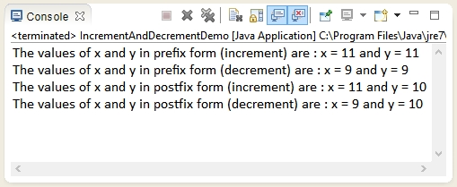 Output of the program - How to use increment and decrement operator in Java ?.