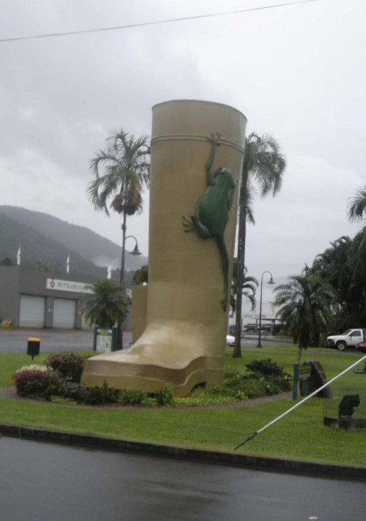 "Big Gumboot with Frog, at Tully FNQ - ""A pretty wet place"""